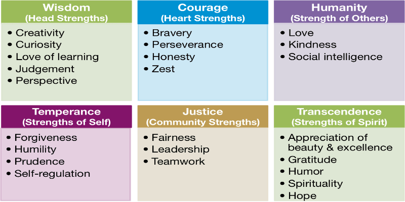 virtues and character strengths (scrapped from: leading with character: stories of valor and virtue and the principles they teach by john j sosik) creativity people who are wise and knowledgeable often are creative they are original and ingenuous in the way they think, talk and perform tasks creativity represents thinking.